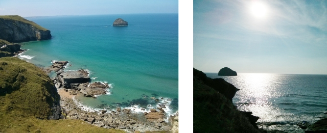 A couple of holiday snaps of Trebarwith Strand, looking towards Gull Rock